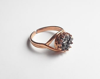 SALE - Faux Druzy Adjustable Ring in Rose Gold