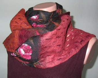 Nuno Felted Scarf Multicolor Black Burgundy Terra cotta Brick Brown White Cherry Rust Fashion Fall Autumn Winter