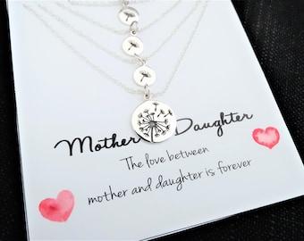 Mother Daughter Necklace Set Dandelion Necklace Sterling Silver Mother's Day gift Dandelion Necklace Dandelion necklace Silver Set of 4