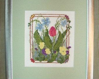 Pink Tulip Flower Garden Cross Stitch Pattern Wildflowers Pansies