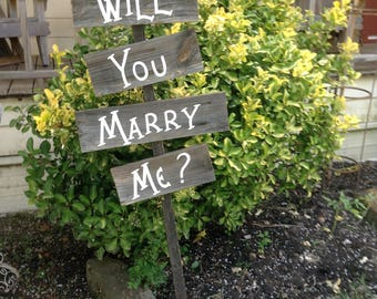 Western Country Rustic Wood Wedding Proposal Sign 4 Boards on Stake Will You Marry Me Photo Prop