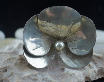 925 Sterling Silver Jewelry Vintage Flower Violet Pin Brooch 3D Art Deco st228