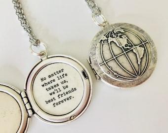 Best Friend Gift.  Best Friends Forever Necklace.  Globe Locket. Friendship locket. Map Necklace. Keychain