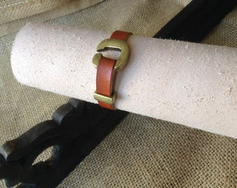 Tan Leather Cuff - with horseshoe-shaped Antique Brass clasp