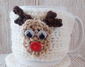 MUG COSY and COASTER Set, Reindeer Cosy, Mug Coaster, Cosy Coaster Set, Crochet Cosy, Reindeer Cosy, Coffee Cup Cosy, Mug Hug, Mug Warmer