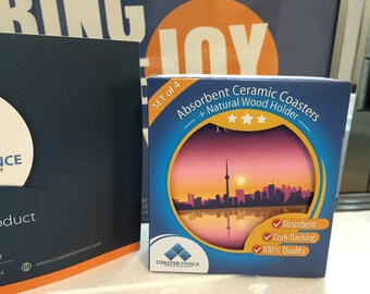 Exclusive; City of Toronto Absorbent Ceramic Coaster Set