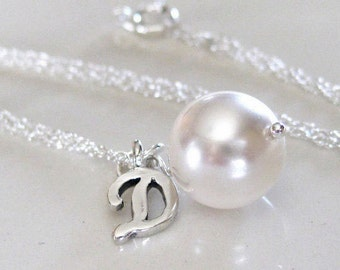 Initial Charm Pendant, Pearl Drop Bridal Jewelry, Bridesmaids Gifts, Wedding Jewelry, Bridesmaids Jewelry