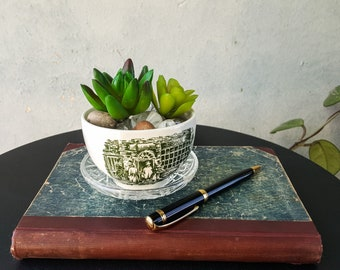 Upcycled Vintage Small Bowl Planter With Drainage Hole and Saucer