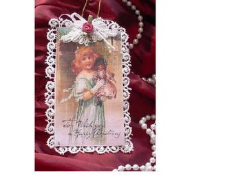 Vintage Style Victorian Christmas Card Tree Ornament - Mauve