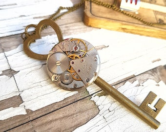 Steampunk Key To My Heart Necklace Love Jewelry Pendant Watch Charm Gothic Gifts Victorian Fashion Style - Key Necklace - anniversary gift