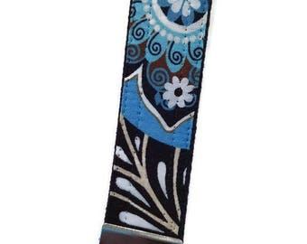 Blue Bali Print Fabric Key Fob