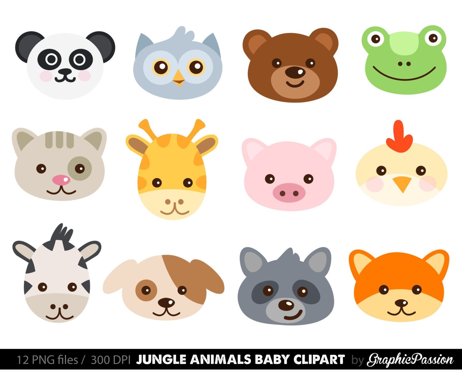 cute animal faces digital clipart digital scrapbooking zoo rh etsy com cute animals clipart free cute animals clipart black and white