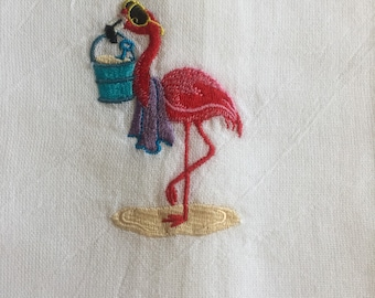 Pink Flamingo Flour Sack Tea Towel Dish Towel Embroidered Going Swimming