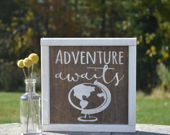 Adventure Awaits, Travel Decor, Nursery Decor, Kids Room Decor, Gender Neutral, Farmhouse Style Nursery, Rustic Nursery Decor, Baby Gift