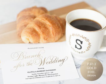 Printable Wedding Brunch Invitation Template, Post Wedding Brunch Invite, Gold Calligraphy Breakfast Instant Download Editable PDF #SPP018br