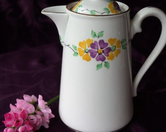 A pretty vintage hand decorated floral bone china chocolate pot, coffee pot or lidded hot water jug. Stanley china made in the 1950s.
