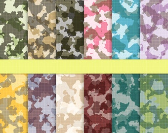 Camouflage Scrapbook Papers, Camo Background, Camoflauge Army, Camo Digital Paper, Military Fabric Digital Paper, 4th July, Instant Download