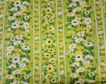 Vintage Waverly fabric home dec Marguerite daisies and stripe polished cotton spring green yellow white orange yardage