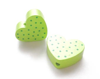 Heart polka dots - lime green & green wooden bead