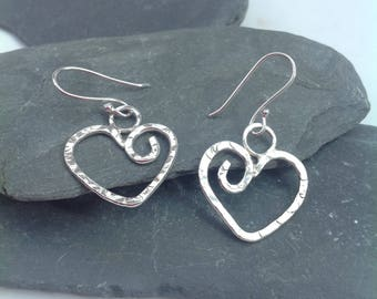 Hammered silver drop heart earrings