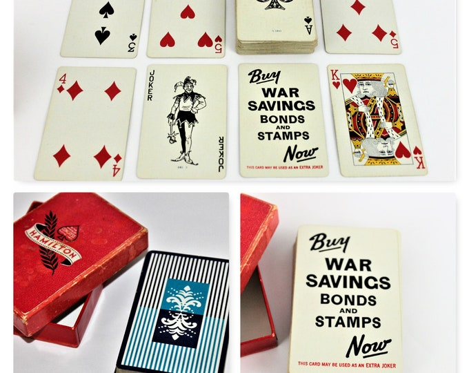 Vintage Deck of WWII 1940s Hamilton Congress Playing Cards with (Buy War Bonds and Stamps Now) in Original Box