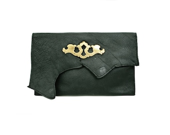 Black Leather Clutch - Raw Edge and Gold Vintage Antique Escutcheon Key Plate Hardware - Steampunk Industrial OOAK - IN STOCK
