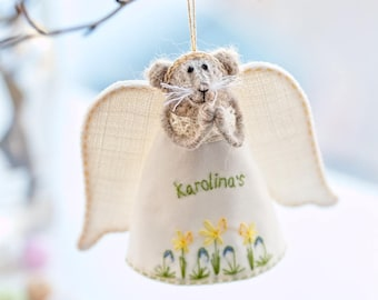 Personalised gift angel keepsake Stuffed mouse ornament Knitted mouse figurine Rat art doll animal Baptism gift girl, Personalized baby gift