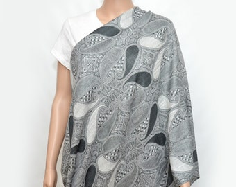 Nursing Cover - Nursing Scarf -Nursing Cover Scarf - Gray with black paisley Infinity Scarf