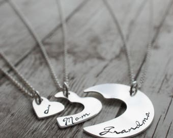 Personalized Three Generation Necklace Set in Sterling Silver by EWD - Grandmother, Daughter, Granddaughter - Mother's Day Jewelry Gifts