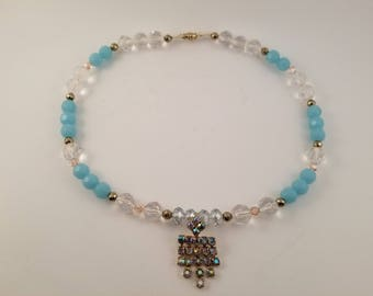Blue Aqua Quartzite, Blue, Clear and  Pink Crystal, Gold Hematite Necklace Featuring Vintage 1950's Pendant