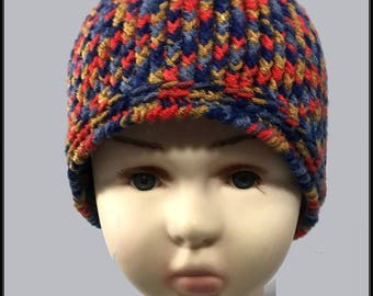Crocheted Basic Beanie hat!!! Red, Blue and Gold variegated!  Ready to Ship!