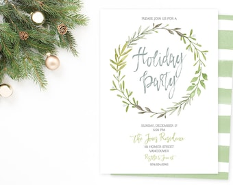 Holiday Party Invitation, Christmas Party Invitation, Christmas Invitation, Christmas Eve Party Invite