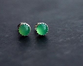 Green Chrysoprase on Sterling Silver Studs - Semi Precious Gemstone