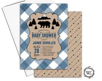 Woodland baby shower invitation boy, rustic baby shower invitations for boys, gingham baby shower invites woodland bear mountains - WLP00862