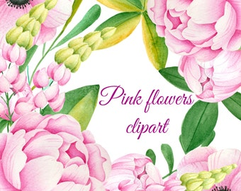 Pink flower clipart etsy floral clipart watercolor clipart hand painted clipart watercolor floral clipart pink flower mightylinksfo Image collections