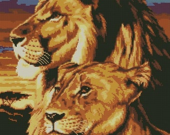 Lion and lioness. Scheme cross stitch