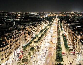 "Paris Art, Paris Rooftops, Champs-Elysees, Paris Street, Paris Night, Urban Photography, Paris Wall Decor, Paris Wall Art - ""Champs-Elysees"""