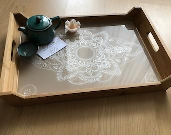 Breakfast ottoman wooden tray. Hand painted in bed table. Oriental mandala Serving. Boho Birthday gift for women. Scandinavian design. Hygge