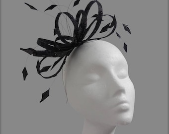 Ladies wedding fascinator, made to order, black sinamay fascinator with beads, race day,  headband, aliceband, formal event, headpiece