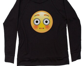 Color Emoticon - Surprise Smile Slouchy Off Shoulder Oversized Sweatshirt