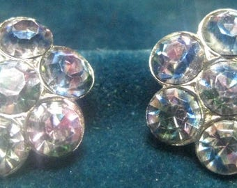 Lovely Vintage Clip-On Earrings- Aurora Rhinestones
