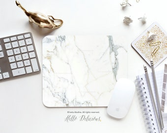 Marble Mousepad Faux White Marble Print Mouse Mat Mouse Pad Office Mousemat Rectangular Mousemat White Marble Print Mousepad Round 29.
