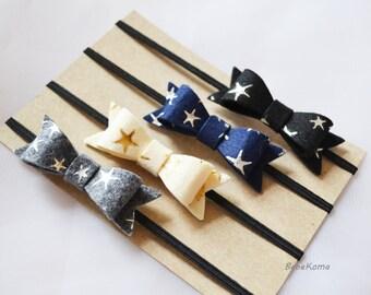 felt bow headband, set of 4 bow, felt bow set, bow felt headband, baby felt bow, baby bow headband, newborn bow headband,