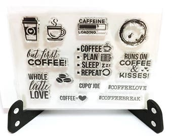 Coffee Stamp, Coffee Beans Clear Transparent Stamp, Caffeine Rubber Stamp, Planner Bullet Journal, Coffee Cup, But First Coffee