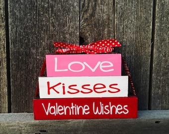 Valentine Mini wood blocks-love, kisses, valentine wishes, valentine wood blocks, valentine decor