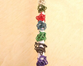 "Ring ""Doodle"" in hemp adjustable craft 12 colors. Canapart"