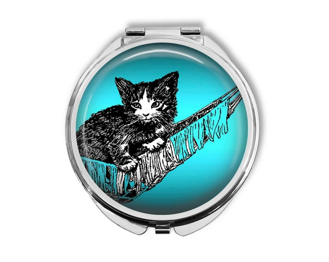 Kitten in Hammock Compact Mirror Pocket Mirror Large
