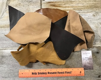 Natural Brown Color Salvaged Leather Scraps - Buckskin Leather Pieces - 1/2 Pound - Lot No. 180405-X