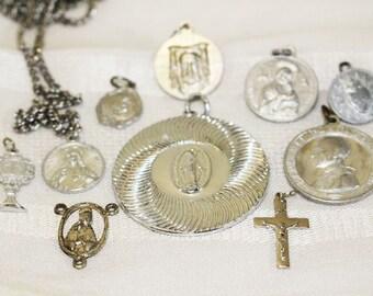 10 Religious Pendants, Necklace, Charms, Silver, Vintage   -  R