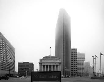 Portage and Main in Winter Fog - the iconic Portage and Main intersection on a gloomy winter morning